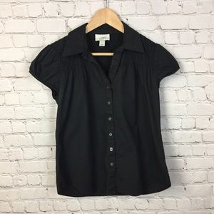 Loft back cap sleeve button down blouse